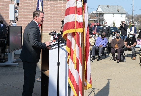 Lt. Governor Jon Husted speaks from a podium outside Mayfair Elementary School in East Cleveland, Ohio, on Wednesday, April 7, 2021.