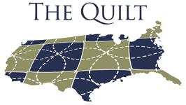 "The Quilt Logo: text ""The Quilt"" an angled USA map with stitched lines overlayed and color blocks"
