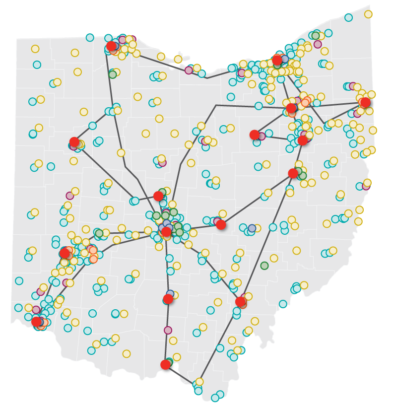 Graphic: Map of Ohio in Gray. Red Dots indicating Backbone locations. Colored dots represent OARnet members and clients all over Ohio. Gray lines connected backbone locations representing OARnet fiber backbone.