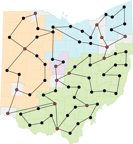 Map of Ohio: Counties are colored by organization, western: ComNet,Inc, Northern:OneCommunity, Southern:Horizon. Shows expanded connected PoPs and fiber