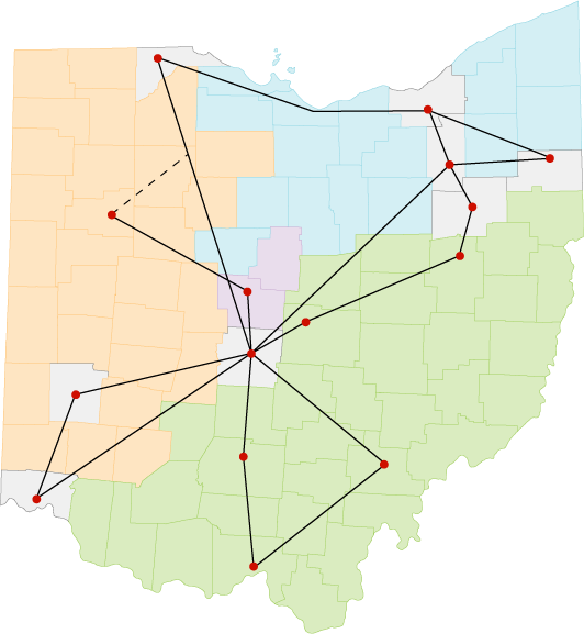 Map of Ohio: Counties color divided by organization - Western: ComNet (Orange), Inc, Northern:OneCommunity (Blue), Southern: Horizon (green). With OARnet current PoPs and backbone, Pre-Funding