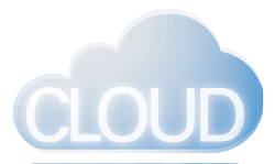 Graphic: illustrated blue fluffy cloud with the word cloud in white