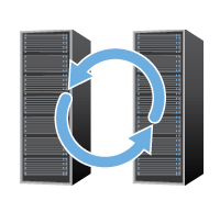 Graphic: Two servers next to one another with big blue arrows in a circle overtop.