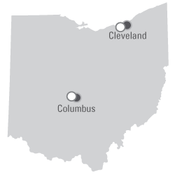 Map: Ohio - Recursive servers as gray dots located in Columbus; Authoritative Servers as white dots located in Columbus and Cleveland
